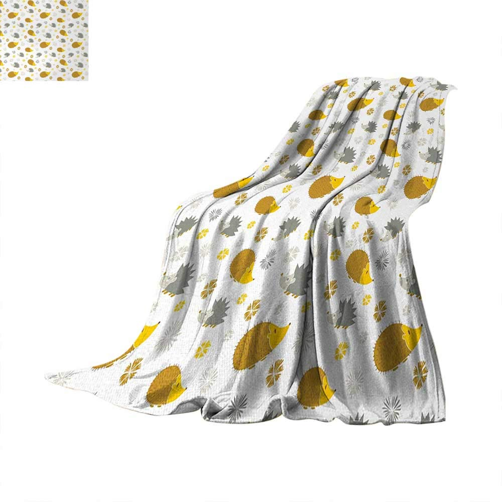 Anhuthree Hedgehog Super Soft Lightweight Blanket Autumn in Woods Theme Different Wildlife Mascots with Little Flowers Summer Quilt Comforter 60''x36'' Goldenrod Grey Yellow