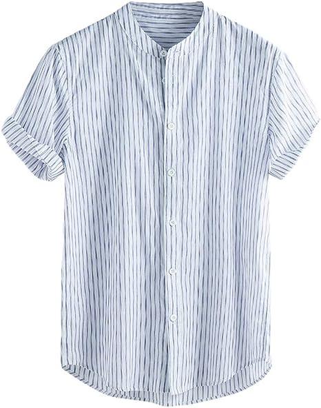 SMILEQ Blusa de Hombre Vintage Baggy Empalme Top Lino Sólido Manga Corta Camisas Retro (S, Azul): Amazon.es: Deportes y aire libre