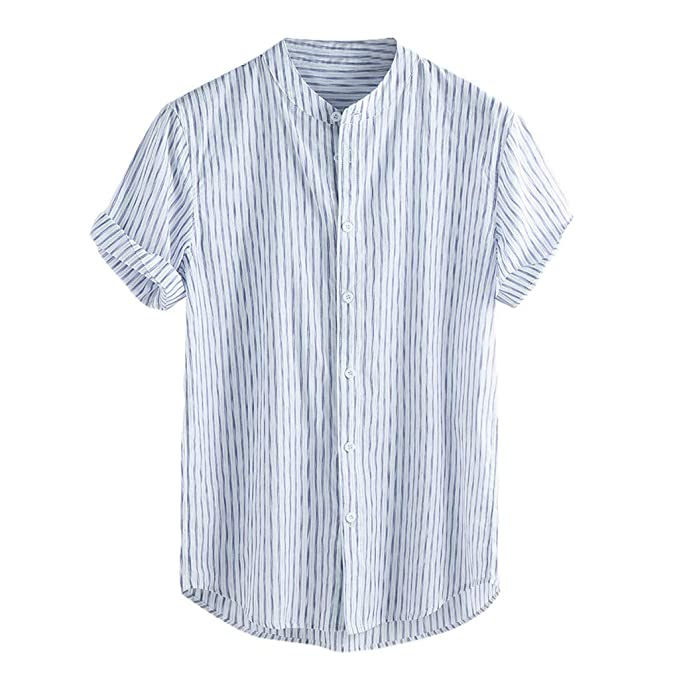 Men/'s Summer Japanese Style Short Sleeve Linen Shirt Striped Button Casual Tops