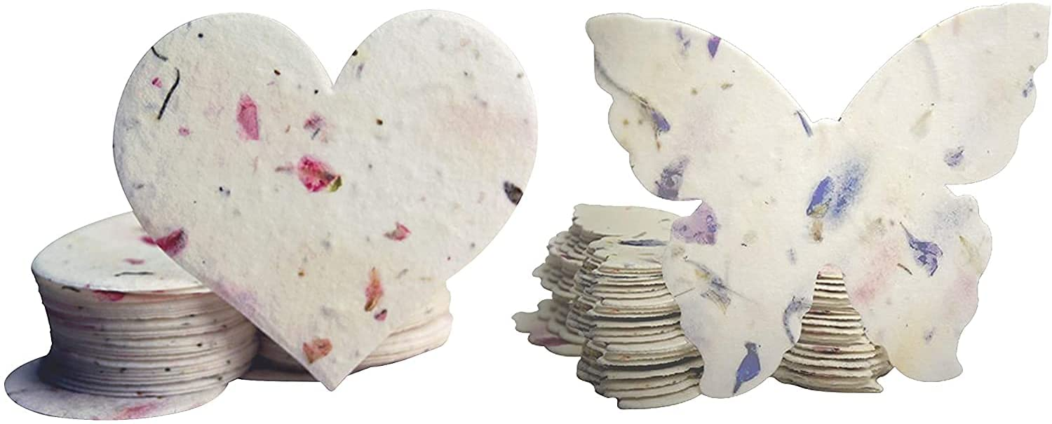 Seed Bloom Handmade Bloom & Grow Seed Paper Wildflower Seeds Embedded Recycled Seeded Paper Gift Tags Gift Cards Stationery & Gift Wrapping Supplies (Hearts & Butterflies 48-Piece Set)