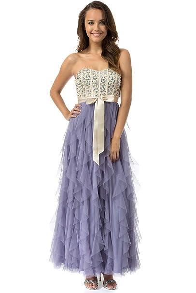 abe474ff6c Amazon.com  Teeze Me Juniors Strapless Jewel Embellished Corset Long  Corkscrew Dress  Clothing