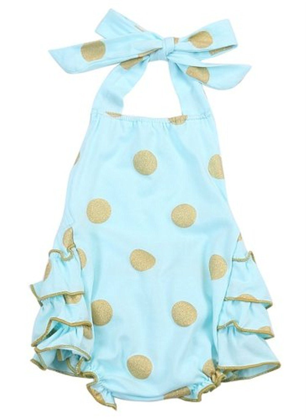BUYEONLINE Baby Girl Bodysuit Romper Dot Sunsuit Outfits 12-18 month,Sky Blue
