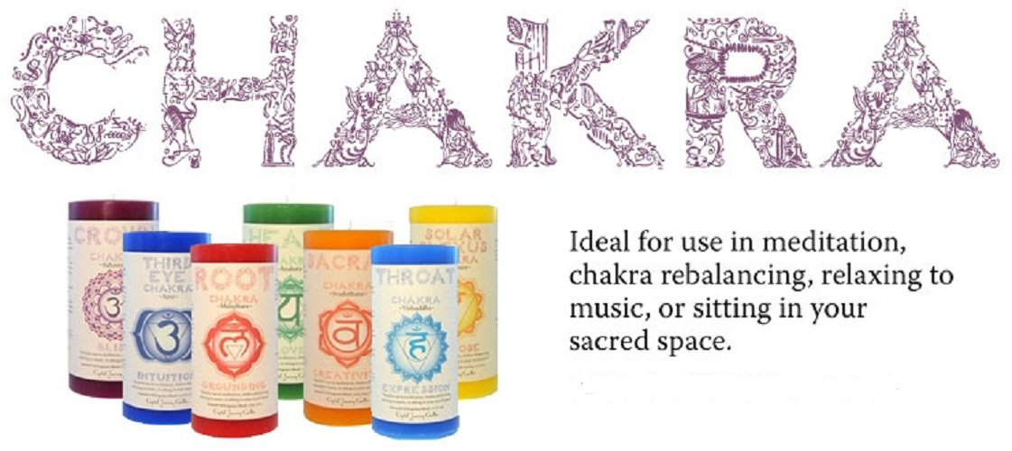 Crystal Journey Chakra Candle Collection SET of 7 ~ 3''x6'' Chakra Pillar Candles