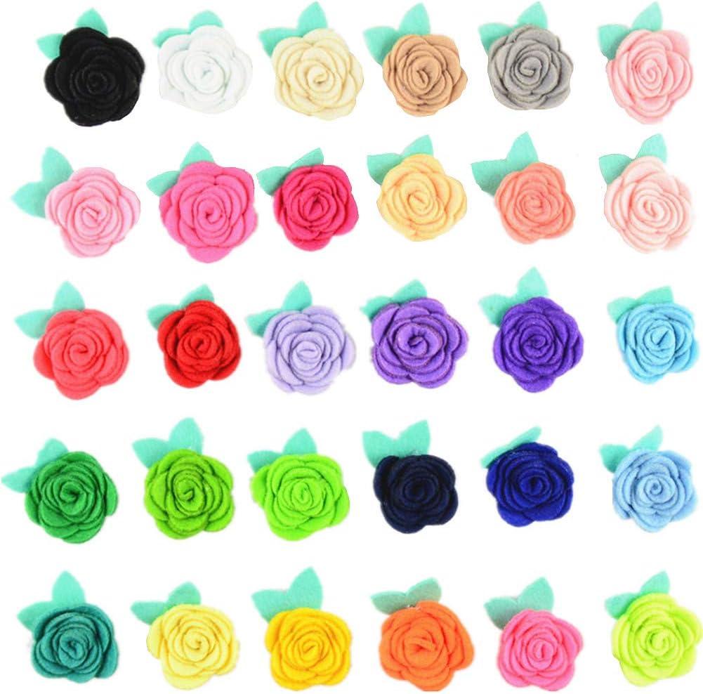30 x satin rose appliques Pour Carte//Couture Artisanat Aléatoire Couleurs Mélangées