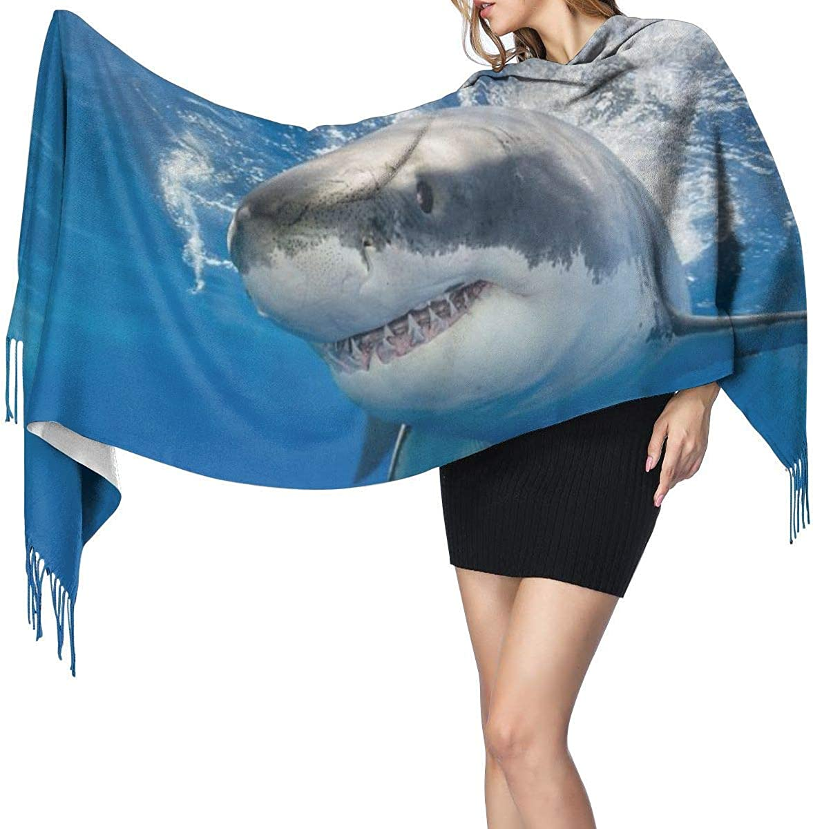 Great White Shark In Mexico Women's Cashmere Scarf Fashion Long Shawl Warm Muffler