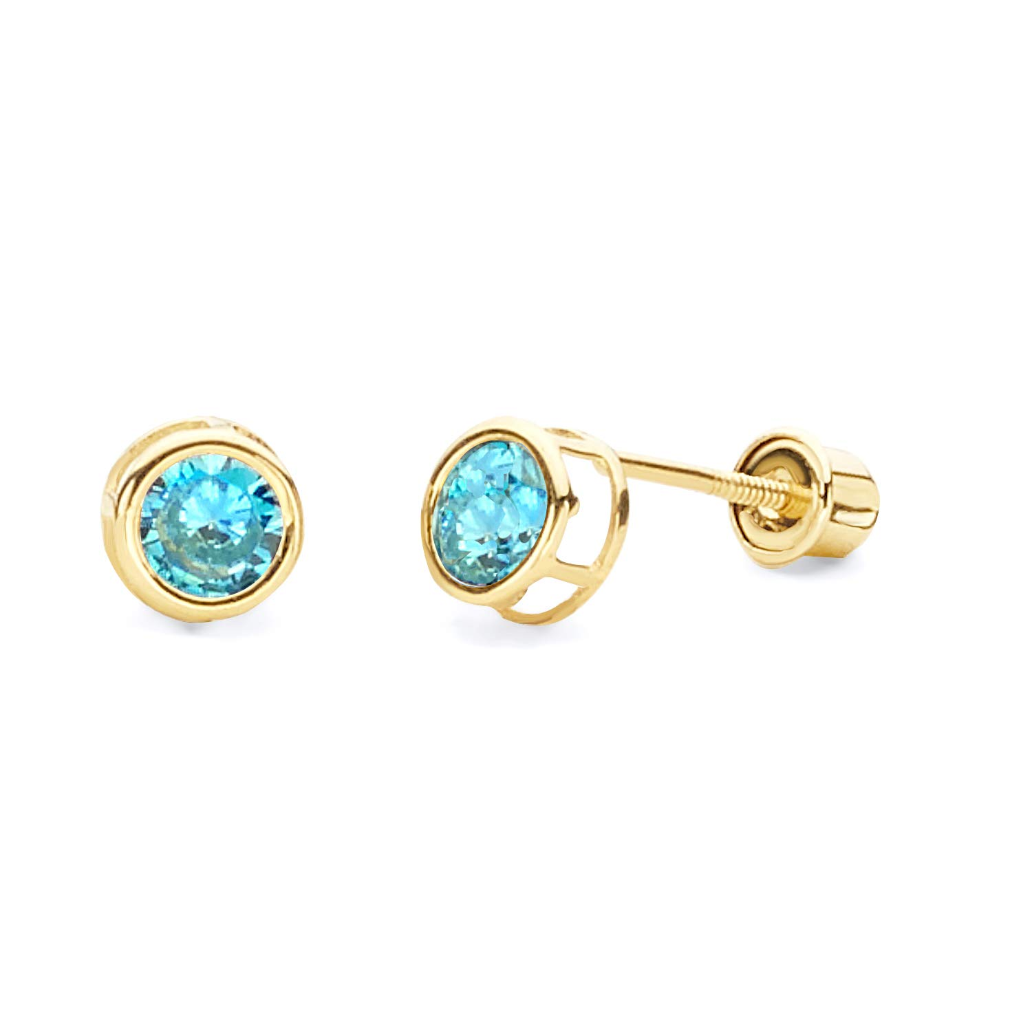 October Wellingsale 14K Yellow Gold Polished 3mm Round Birth CZ Cubic Zirconia Stone Solitaire Basket Style Prong Set Stud Earrings With Screw Back