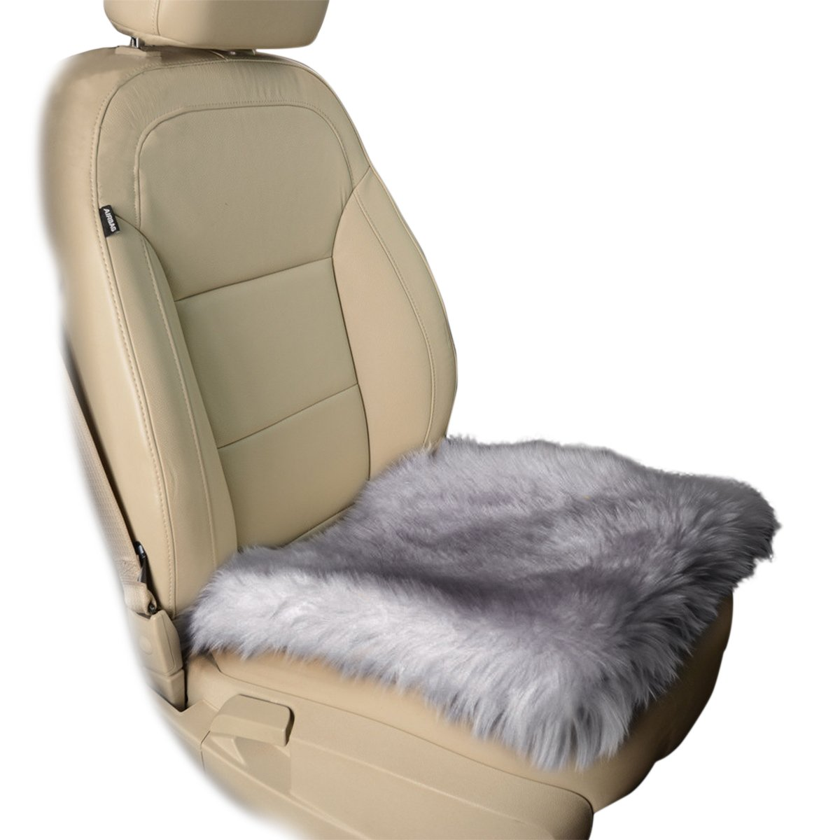 zone tech gray faux sheepskin car seat home cushion fur pad cover warm mat ebay. Black Bedroom Furniture Sets. Home Design Ideas