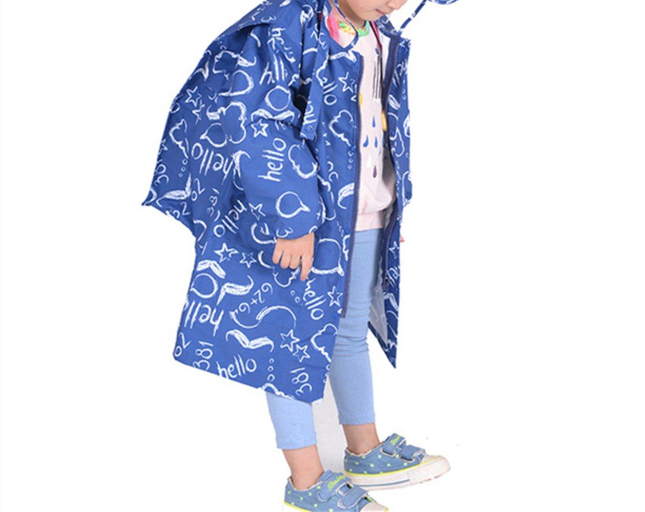 zhbotaolang Kids Raincoat Girl Boy Waterproof with School Bag Cover Dark Blue XXXL