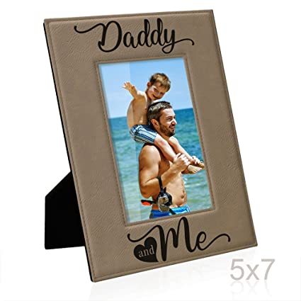 Amazon.com - Kate Posh Daddy and Me Engraved Leather Picture Frame ...