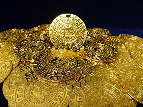 Amazing Lot of 25 Aztec/Mayan Gold Color Charm Medallions 1 3/4 inches Round with Slot, Cosplay, Beverly Oak's Exclusive COA and Bonus Gold Pirate Coin