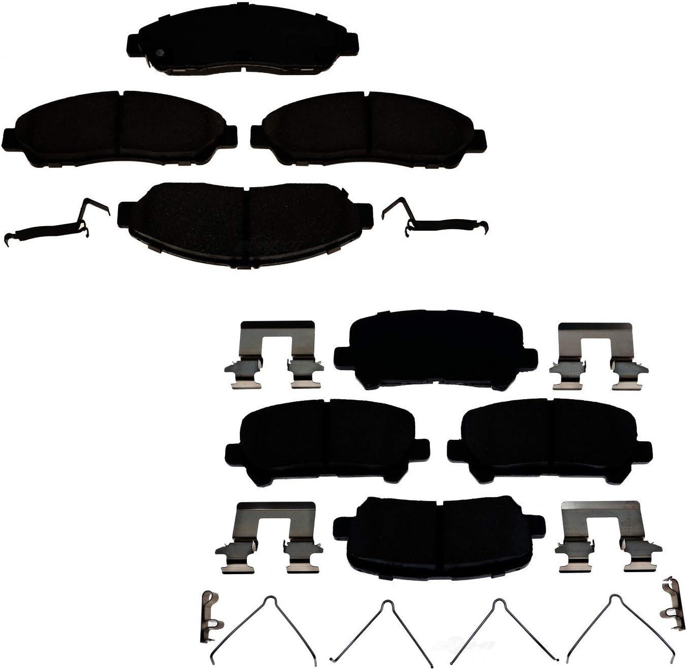 Front Rear Disc Brake Rotors And Semi-Metallic Pad Kit Honda Pilot Acura MDX ZDX