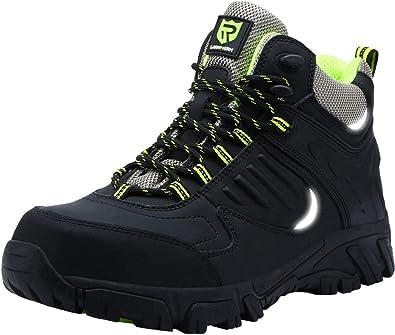 LARNMERN Zapatillas de Trabajo con Hombres, LM 316 Ultra Liviano Reflectivo Punta de Acero Transpirable Zapatos de Seguridad