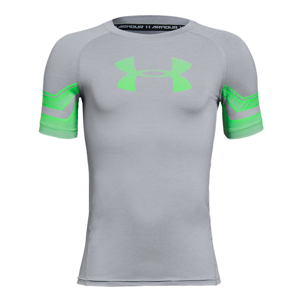 Under Armour Boys Graphic Short sleeve, Overcast Gray Light/Green Typhoon, Youth Small