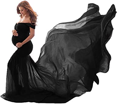 Cosyou Black Maternity Dress Off Shoulder Cotton Tops With Long Chiffon Train Maxi Dress For Maternity Shoot Black One Size At Amazon Women S Clothing Store