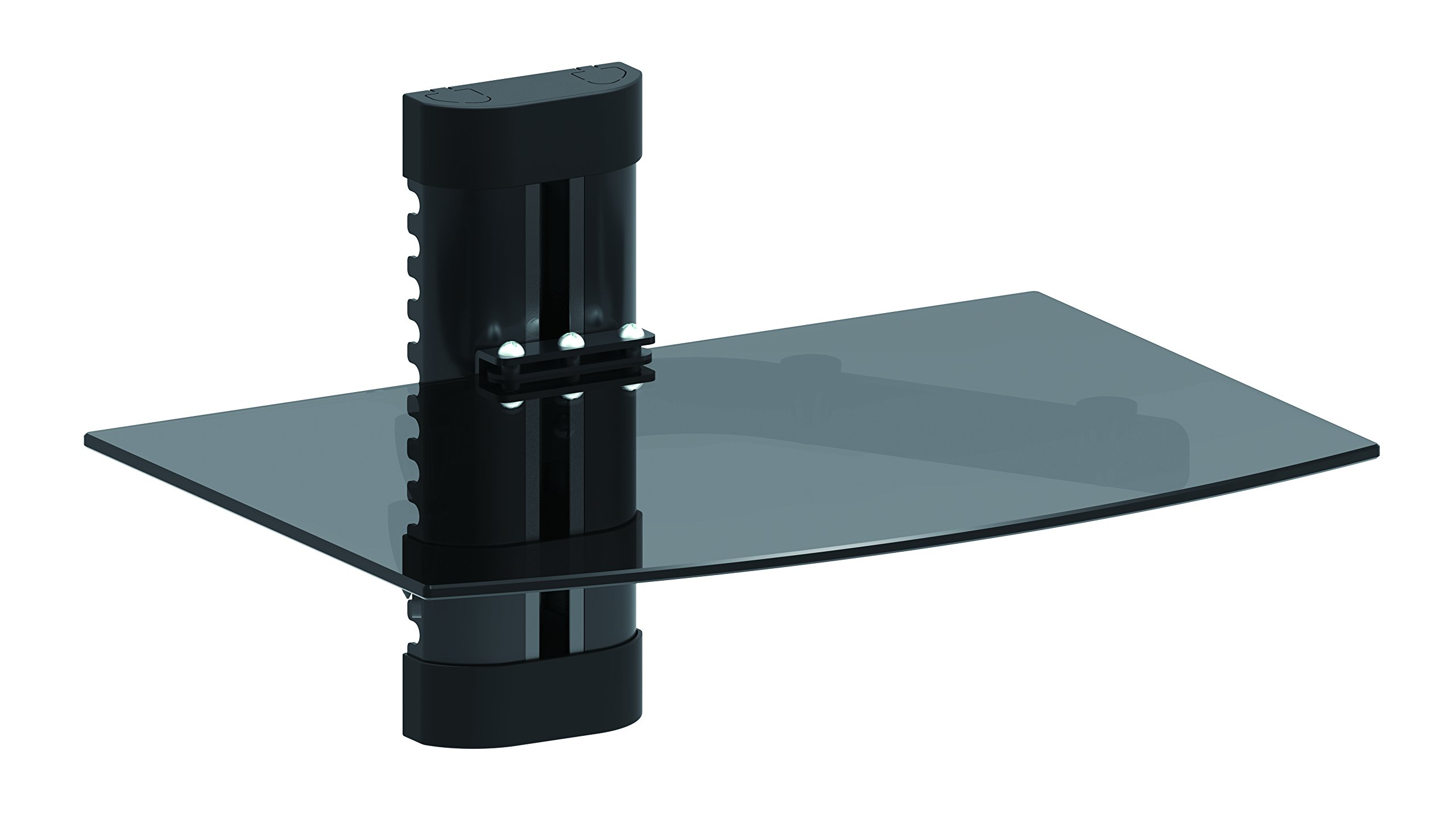 Wall Mount Shelf For Media Players with Tempered Glass- Holds up to 17.6 lbs