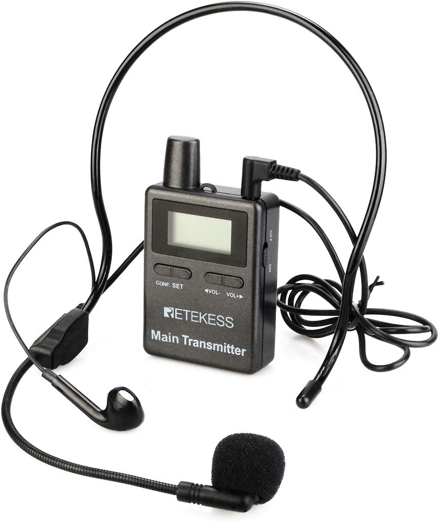 Retekess TT105 Wireless Tour Guide Monitoring Voice Audio Transmission System 2.4GHz Church Translation with 30 Receivers and TT009 Charge Case