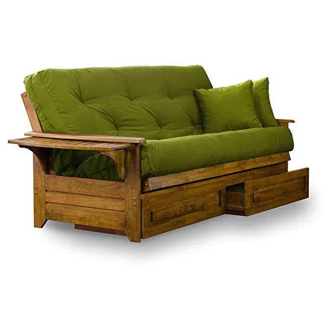Brentwood Tray Arm Queen Size Wood Futon Frame and Storage Drawers - Heritage Finish