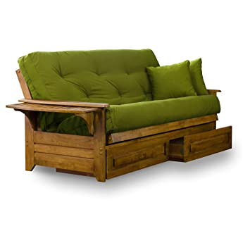 brentwood tray arm queen size wood futon frame and storage drawers heritage finish - Wood Futon Frames