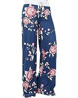 LAEMILIA Pantalons Femmes Droit Evasée Imprimé Floral Cordon Large Jambes Casual Pantalons Leggings Jogging Sport