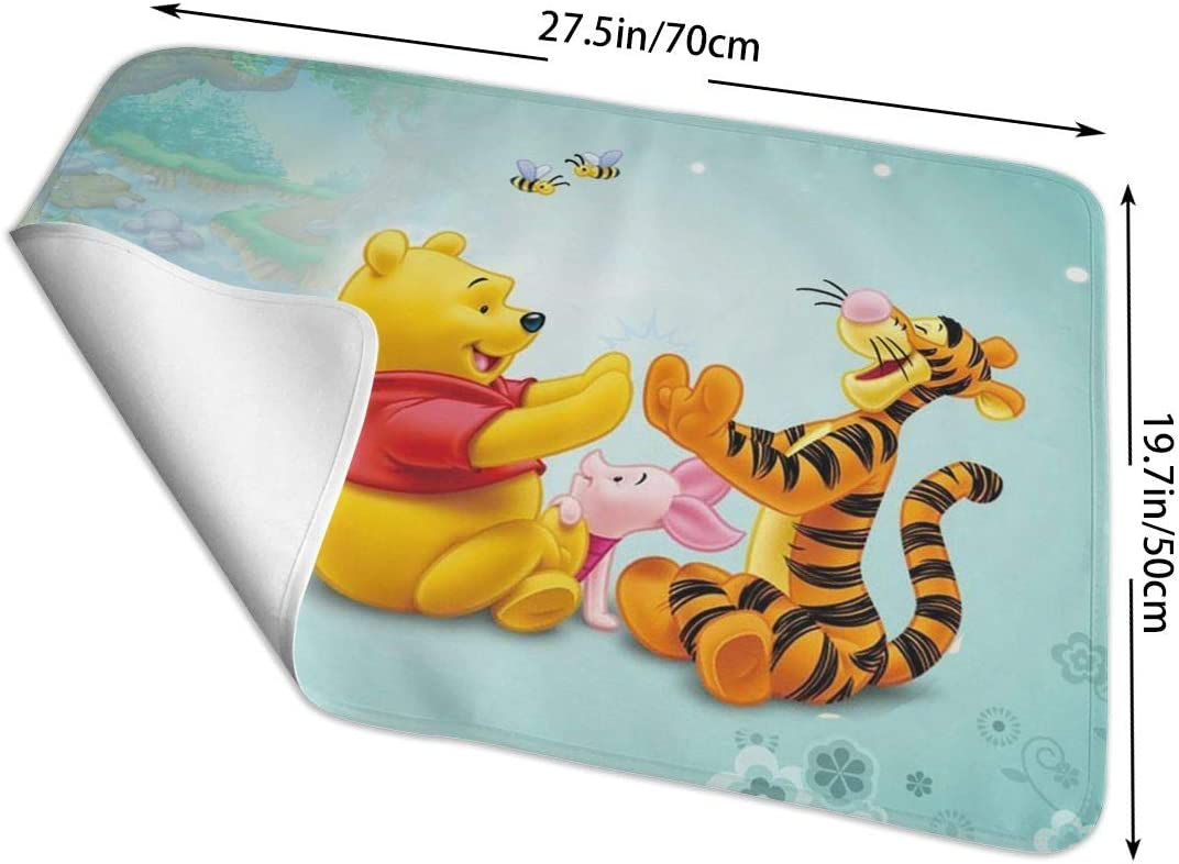 CFECUP Baby Changing Pad Tigger Piglet and Winnie The Pooh Portable Foldable and Soft Urine Pads for Baby Toddler Children