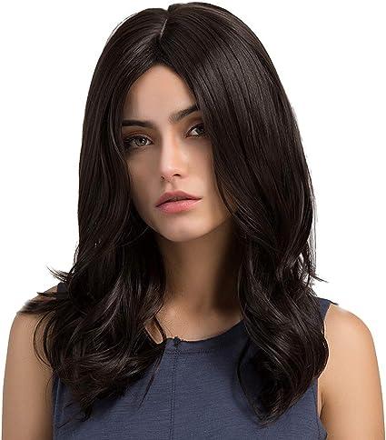 Peluca rizada larga mediana negra, pelo sintético resistente al calor para el peinado del día a día de las mujeres blancas o negras de la moda.: Amazon.es: Belleza