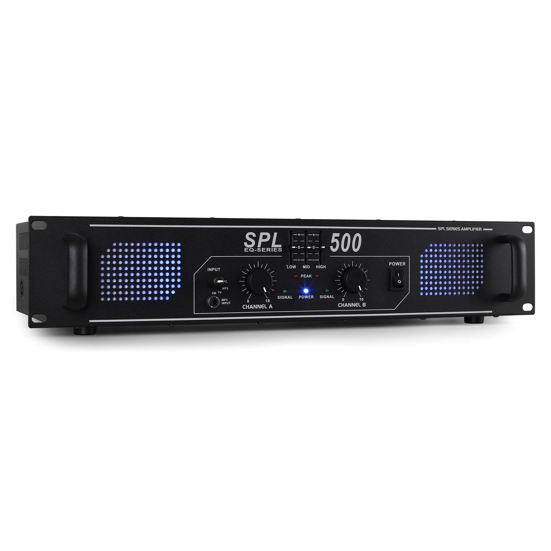 Skytec SPL500 Ampli de Sono DJ/PA HiFi Stereo (500W, Egaliseur 3 bandes, LED Bleu) - Pour petits et moyens évènements, facile à transporter et ranger en rack 48cm- Noir