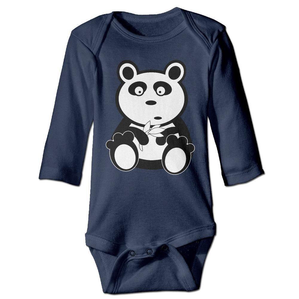 braeccesuit Baby Panda Black White Bear Teddy Long Sleeve Romper Onesie Bodysuit Jumpsuit