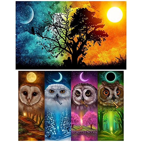 COCODE 2 Pack DIY 5D Diamond Painting by Number Kit, Crystal Rhinestone Full Drill Embroidery Cross Stitch Arts Craft Canvas for Home Wall Decoration(51 x 36cm Starry Sky & 46 x 36cm Four Season Owl)