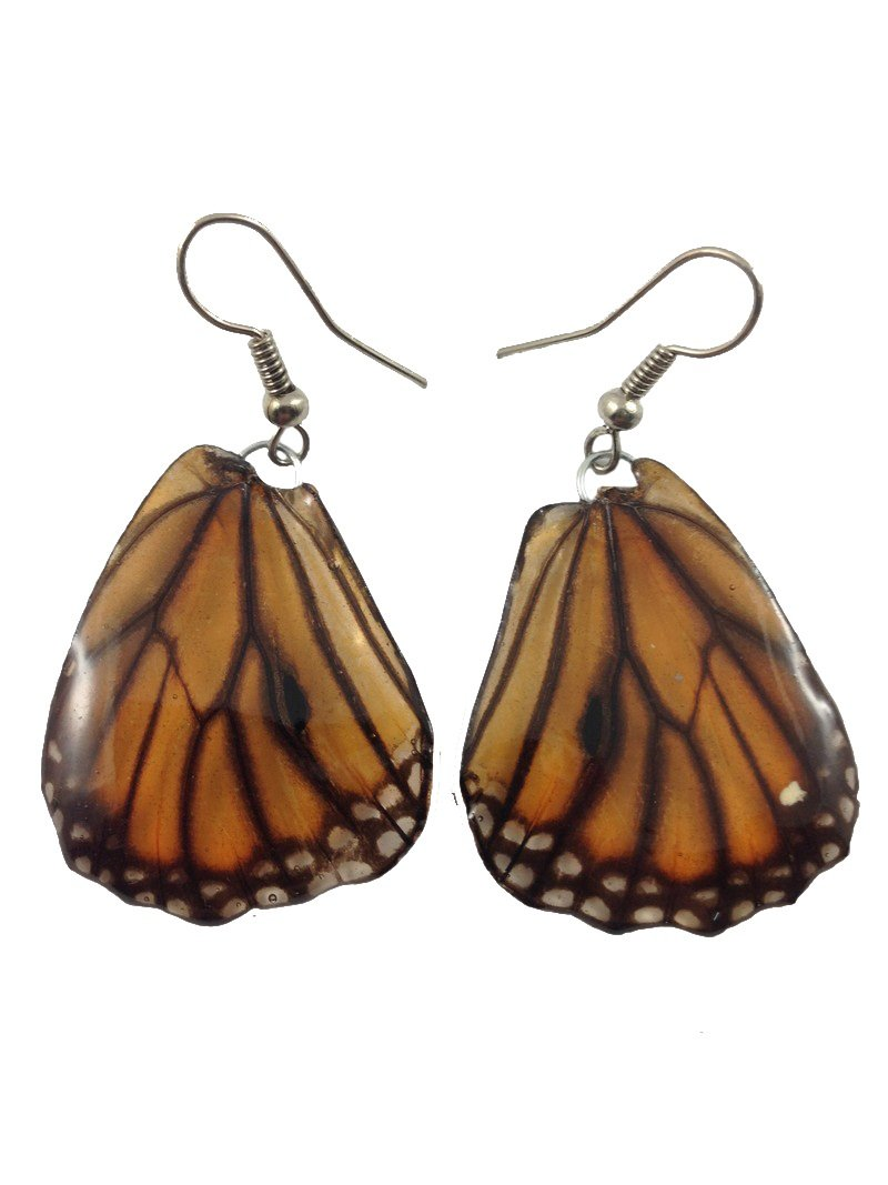 Real Butterfly Wing Earrings Silver925 Dangle Earrings Lot Jewelry Drop/Long Tiger Pattern #018 by Mr_air_thai_Earrings