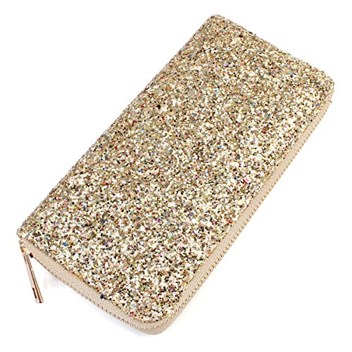 RIAH FASHION Rainbow Glitter Zip Around Wallet - Sparkly Confetti Single Zipper Clutch Purse with Card Slots (Rainbow - Gold) ()