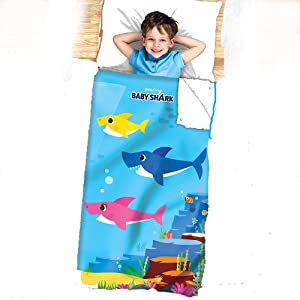 Franco Manufacturing Co. Baby Shark 2-in-1 Cozy Cover & Slumber Bag