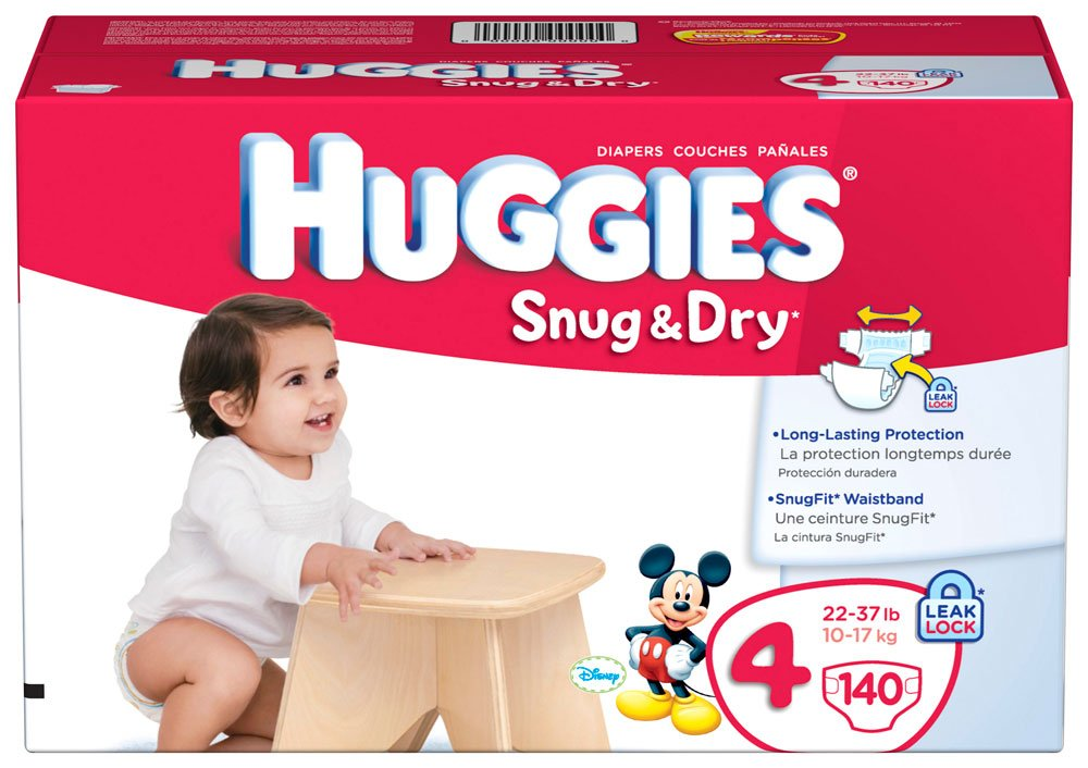 Amazon Huggies Snug Dry Diapers Size 4 Giant Pack 140