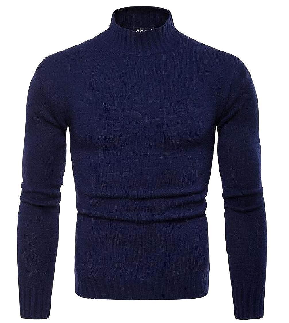 Gocgt Men Casual Basic Knitted Turtleneck Slim Fit Pullover Sweater