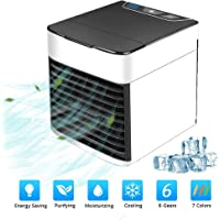 MKYUHP Air Cooler, Portable Air Conditioner Fan with Air Cooler, Humidifier, Purifier, USB Mini Personal Space Cooler Desktop Fan for Office Household Outdoors