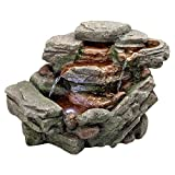 Water Fountain with LED Light - Waterfall Creek Rock Garden Decor Tabletop Fountain - Desk Fountain Water Feature
