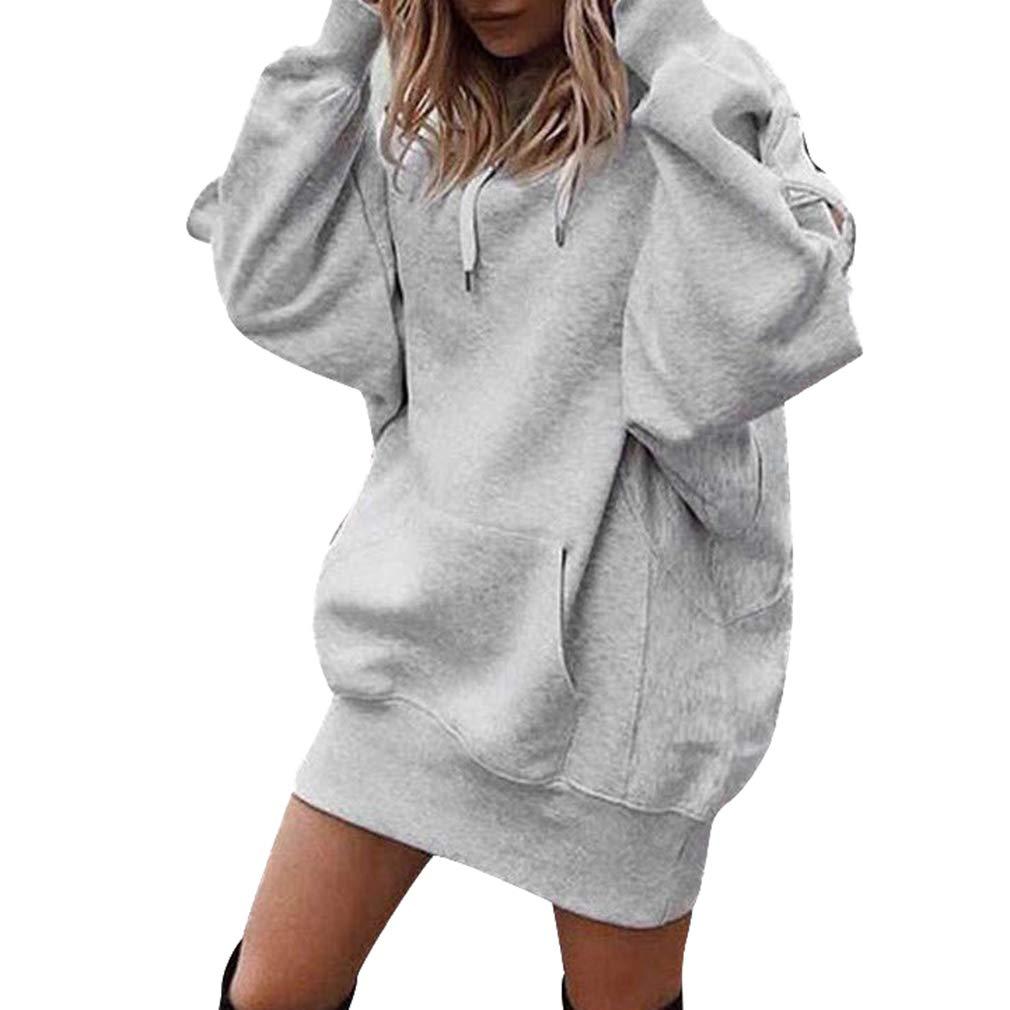 Moda Felpe Donna con Cappuccio Tumblr Ragazza Eleganti Donna Grandi Sweatshirt Donna Hoodie Maniche Lunghe Felpe Cappotto Maglie Vestito M-XL