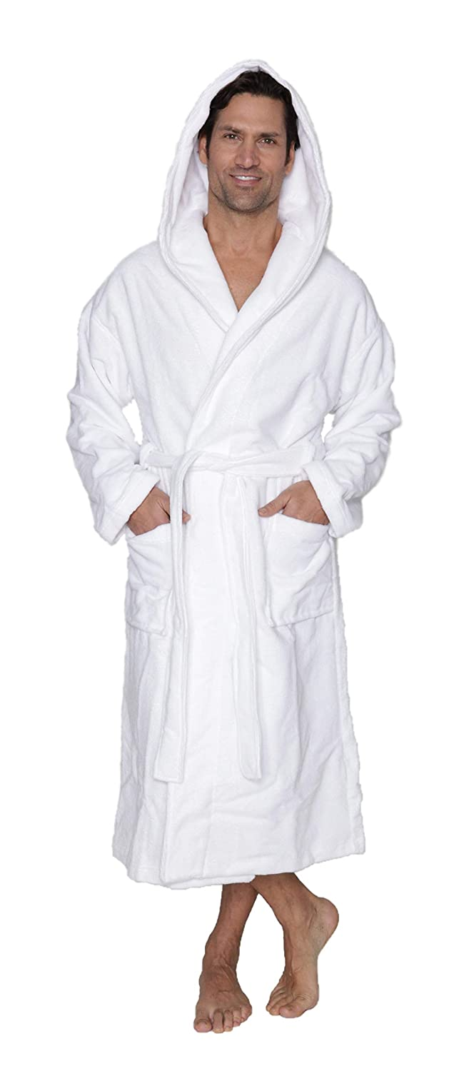 Allez Housses Canadian Made Men Long Hooded Bathrobe 100% Terry Cotton l Bring The Feeling of a spa and Hotel to Your Home