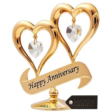 Amazon.com: Matashi 24K Gold Plated Happy Anniversary Inscribed ...