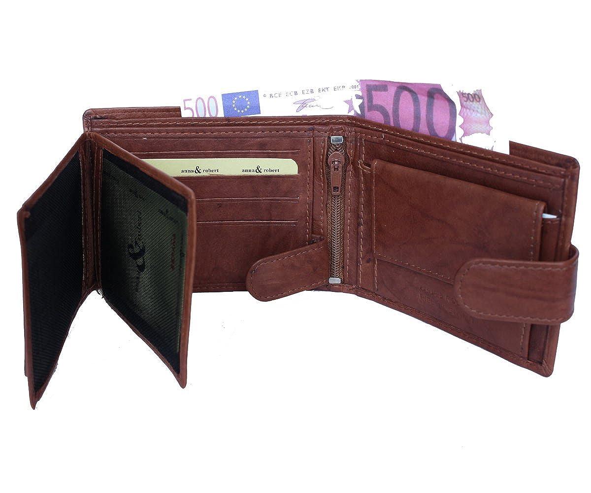 Cartera billetera de hombre en piel con monedero marca Anna & Robert Antique (negro): Amazon.es: Zapatos y complementos
