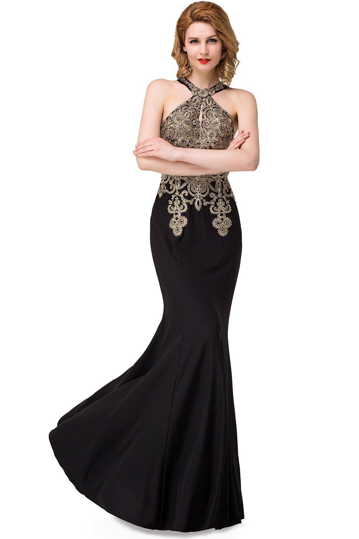 Q Best Christmas Gift-Big Promotion! Crystal Long Floor-Length Scoop Chiffon Elegant Prom Dress (2, Ocean Blue)