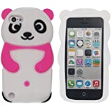 Tsmine iPod Touch 6 Case,iPod Touch 5 Case Cartoon Case - Cute 3D Panda Soft Silicone Back Washable Cover Case Protective Skin for Apple iPod touch 5th 6th Generation , Rose Pink