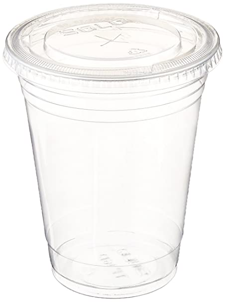A World Of Deals Plastic Clear Cup Set with Flat Lids, 100 Sets, 16 oz.