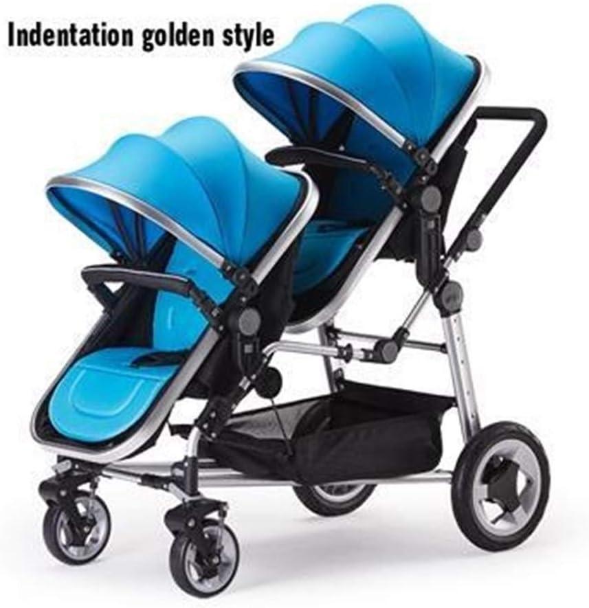 HEJIANLSTORE 安全安定ツインベビーカーラグジュアリーツインベビーカーリクライニング座ることができます (Color : Blue)