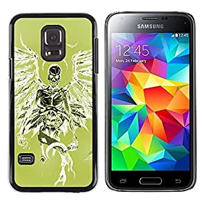 Shell-Star Arte & diseño plástico duro Fundas Cover Cubre Hard Case Cover para Samsung Galaxy S5 Mini / Samsung Galaxy S5 Mini Duos / SM-G800 !!!NOT S5 REGULAR! ( Green Death Angel Green Wings Skull )