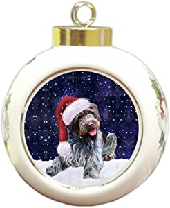 Let it Snow Christmas Holiday Wirehaired Pointing Griffon Dog Wearing Santa Hat Round Ball Ornament D251