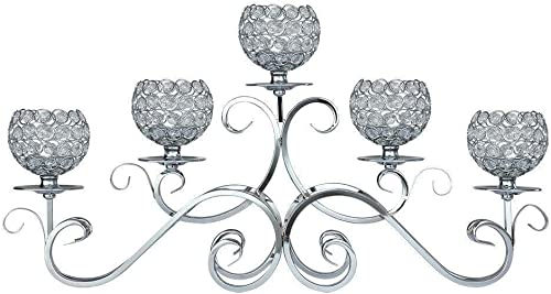 5 Arms Silver Crystal Candle Holder