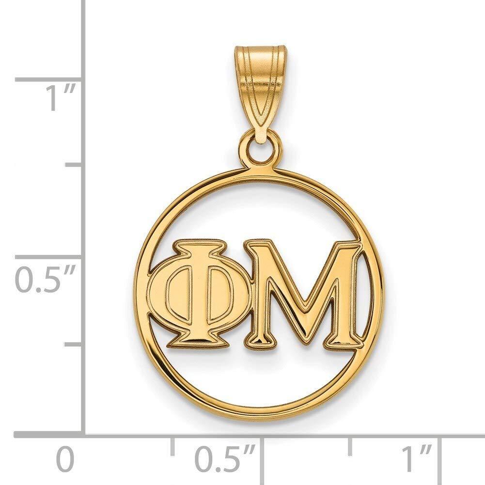 Lex /& Lu LogoArt Gold Plated Sterling Silver Phi Mu Medium Circle Pendant
