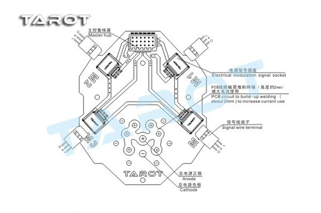 Tarot 4 In 1 Esc Signalpower Integrated Board Hub For Quadcopter Wiring Guide Drone Heli Tl4x004 Toys Games