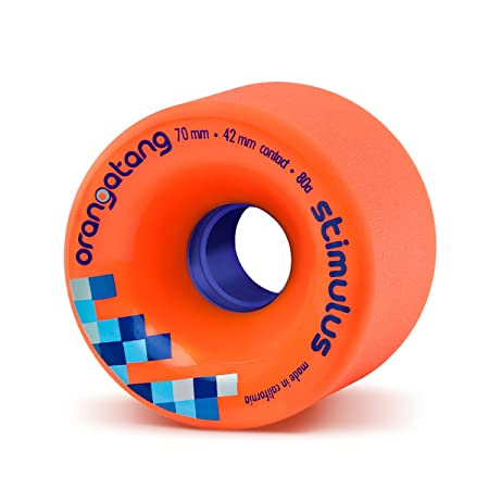 Orangatang Stimulus 70 mm 80a Freeride Longboard Skateboard Wheels w/Loaded Jehu V2 Bearings (Orange, Set of 4)