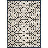 Safavieh Courtyard Collection CY6115-258 Beige and Navy Indoor/Outdoor Area Rug (4′ x 5'7″)